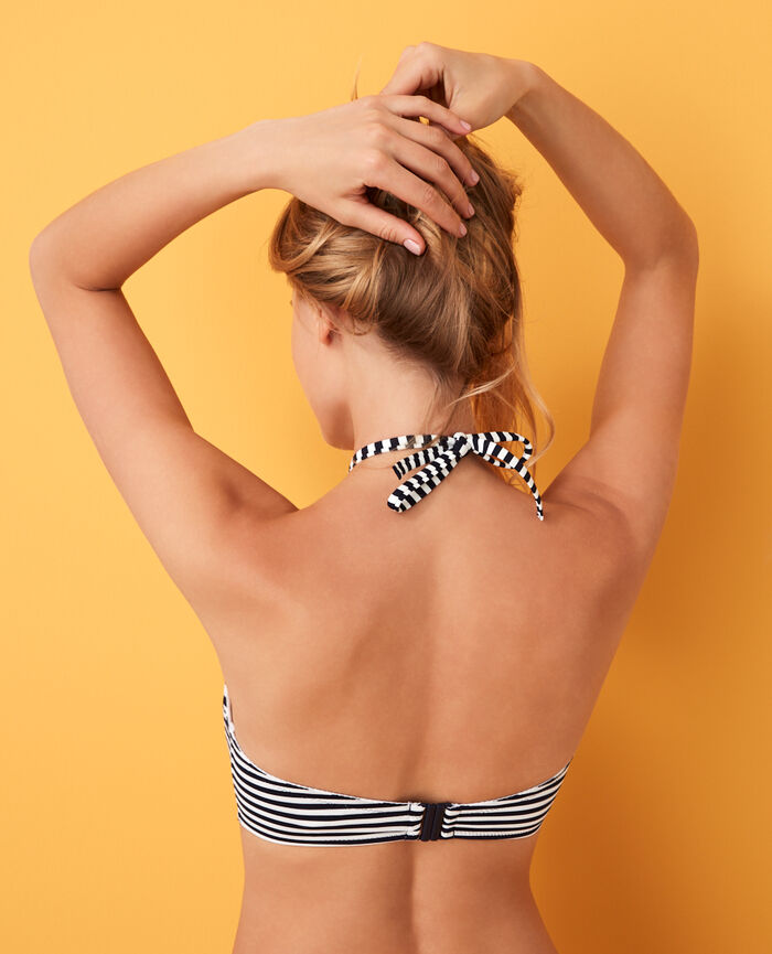 Concealed underwired strapless bikini top Blue stripes Lisa
