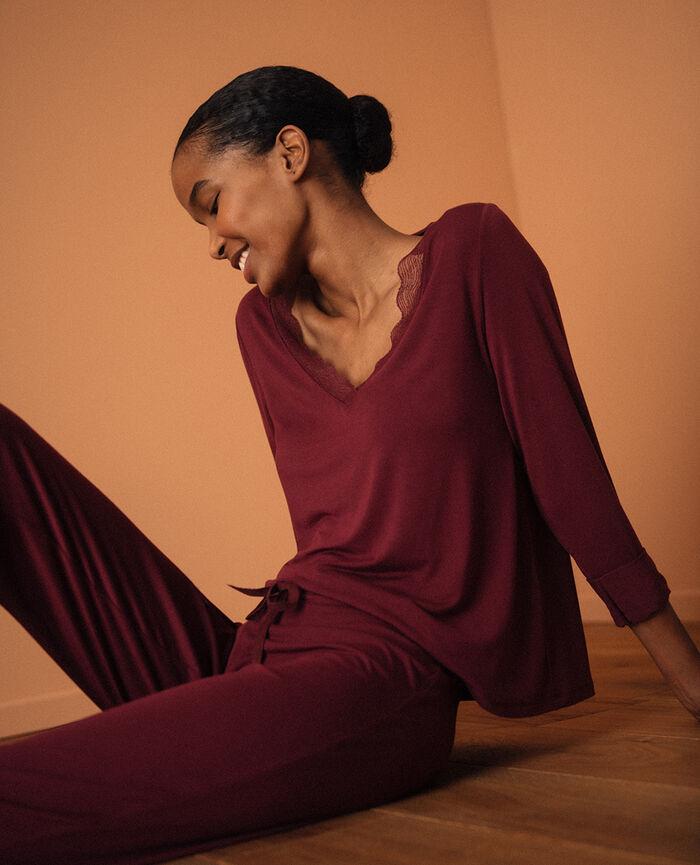 T-shirt manches longues Rouge cassis Douceur