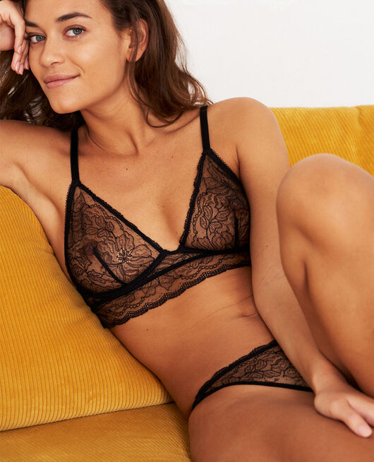 Mini-wire triangle bra Black Prestige