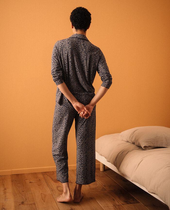 Pantalon Bouquet bleu marine Bonne nuit print