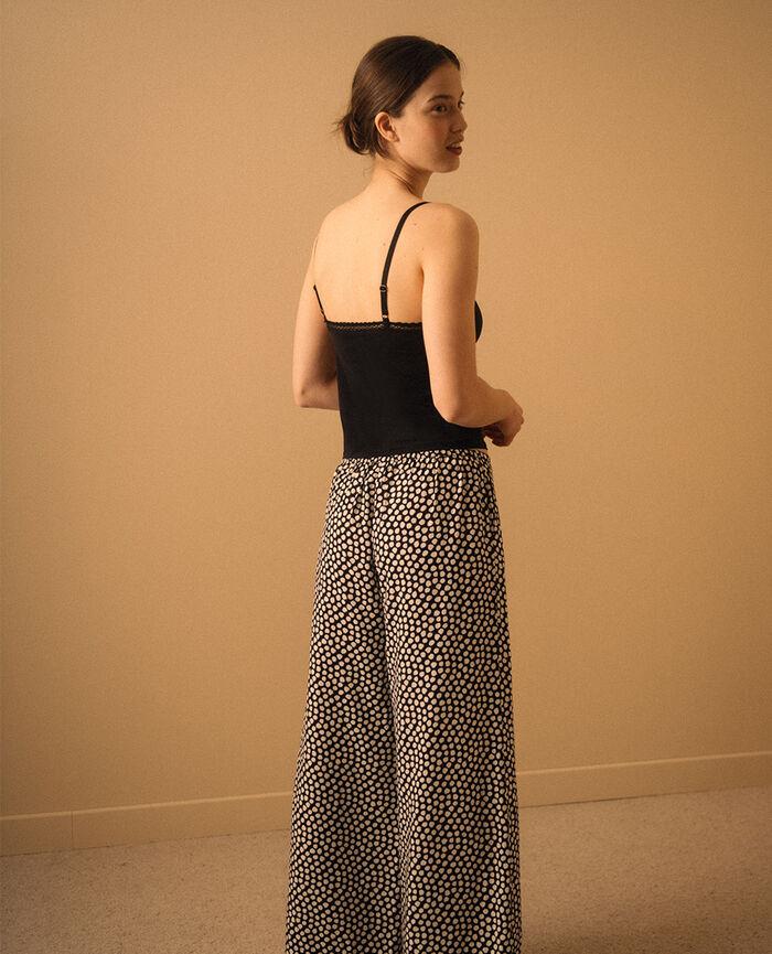 Pantalon large Mini pois noir Relax viscose