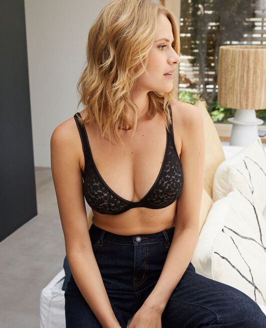 Underwired triangle bra Black Birdy