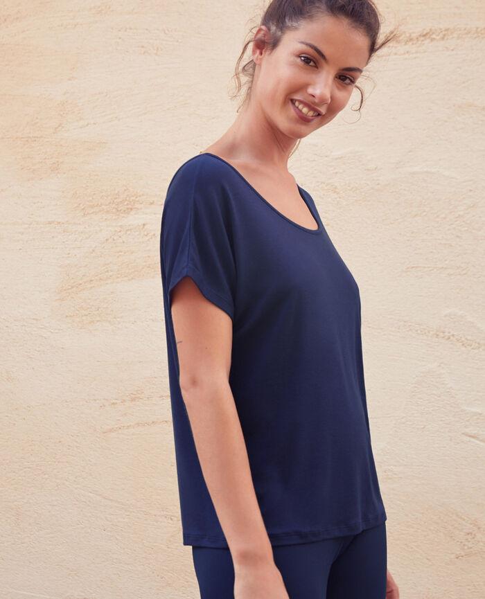 T-shirt de sport manches courtes dos ouvert Bleu marine Yoga