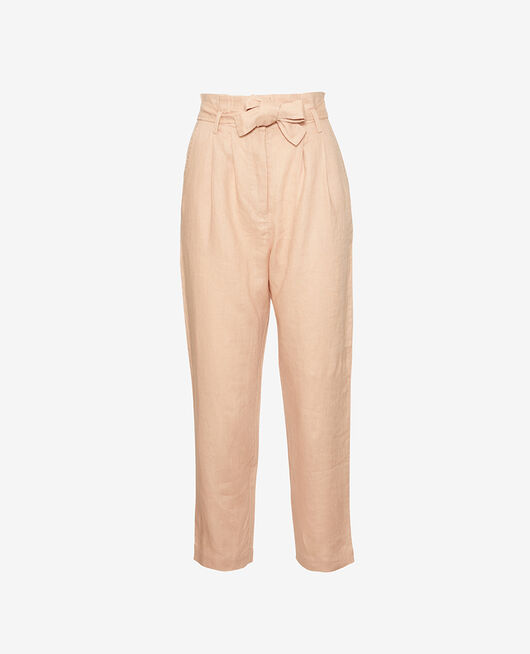 Trousers Flecked beige Chic lin