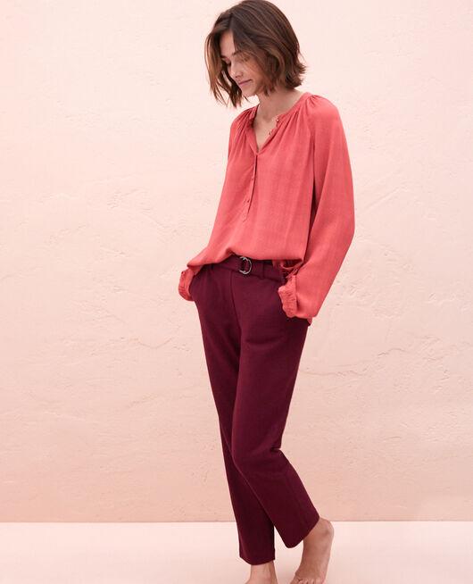 Chemise manches longues Rouge pivoine Amplitude