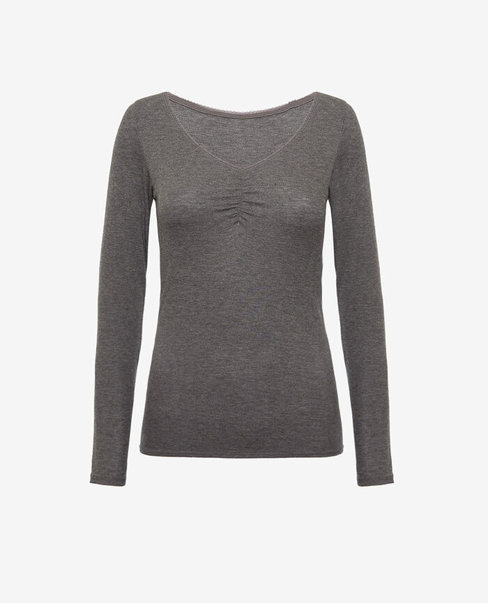 Long sleeved top Anthracite grey Heattech© lovely