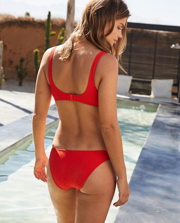 Culotte de bain échancrée Rouge pamela Allure