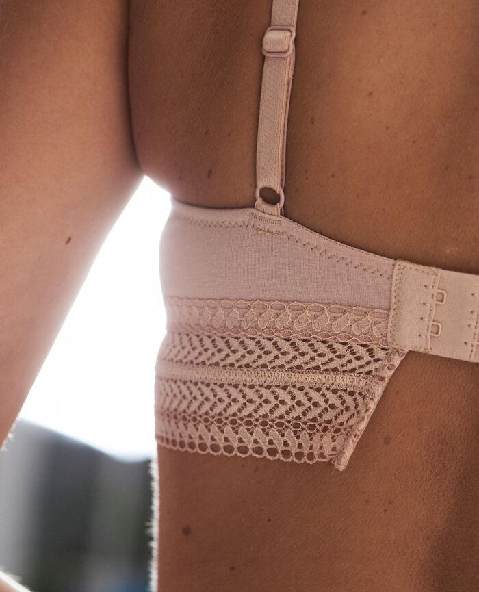 Wireless bralette Linen beige Coton