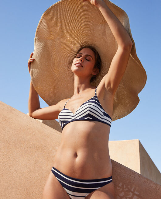 Mini-wire triangle bikini top Navy blue stripe Moussaillon
