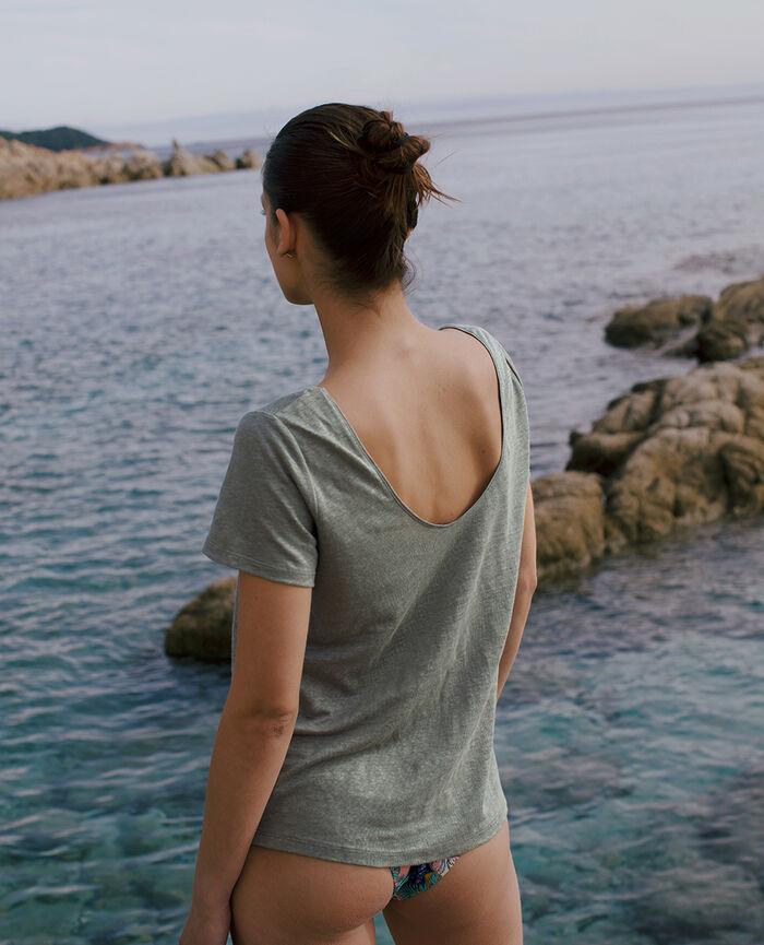 T-shirt manches courtes Vert eucalyptus Casual lin