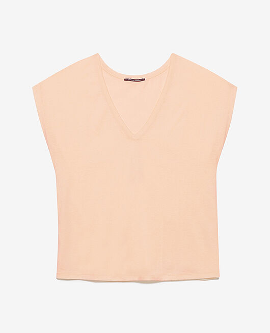 Short-sleeved top with v-neck Peach pink Top collection