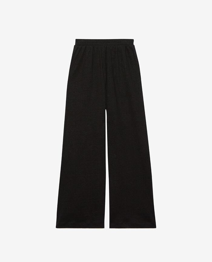 Pantalon gaucho Noir Casual lin