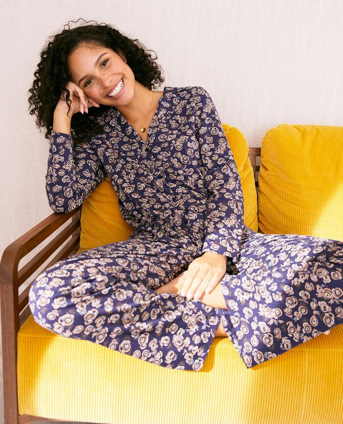 Veste de pyjama Fiesta bleu marine Dimanche print