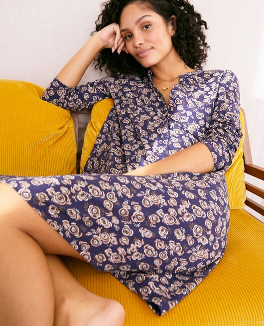 Long-sleeved nightdress Navy blue fiesta Dimanche print