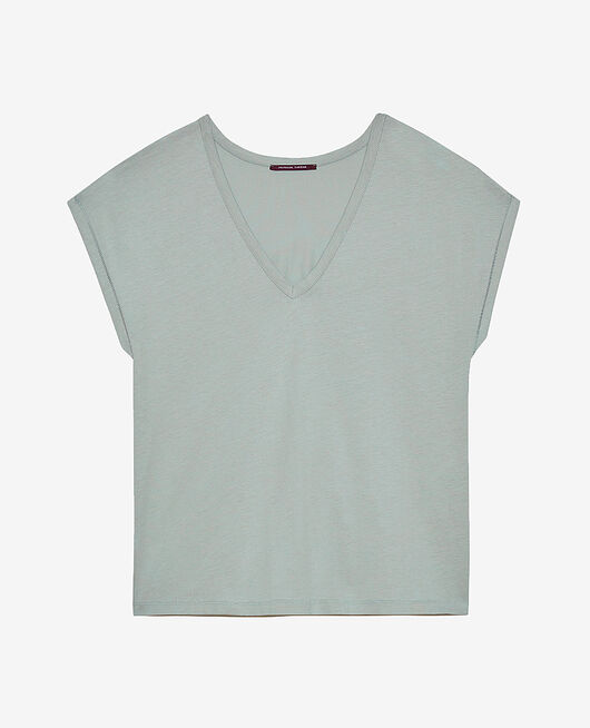 Short-sleeved top with v-neck Almond green Top collection