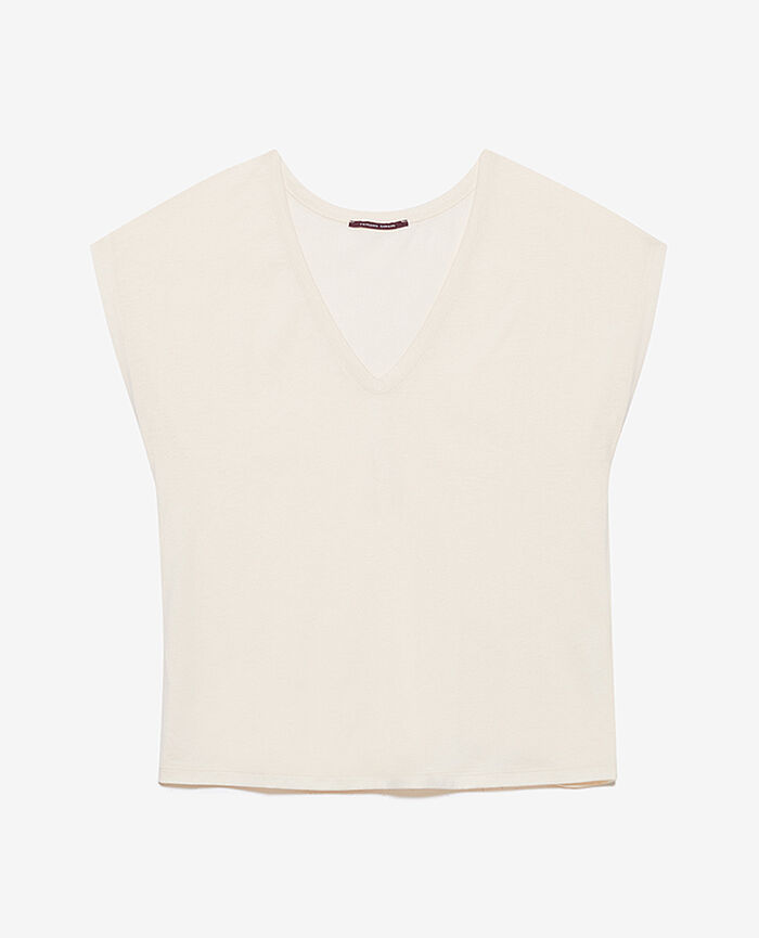 Short-sleeved top with v-neck Rose white Top collection