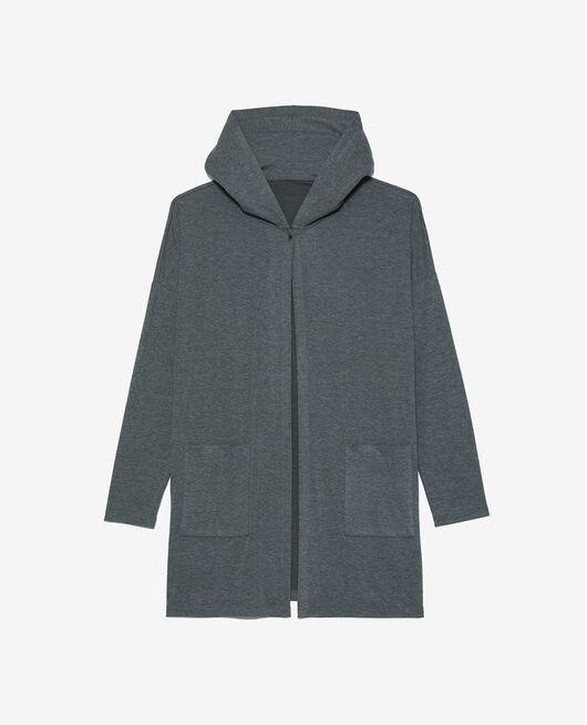 Long-sleeved cardigan Flecked grey Heattech© lounge
