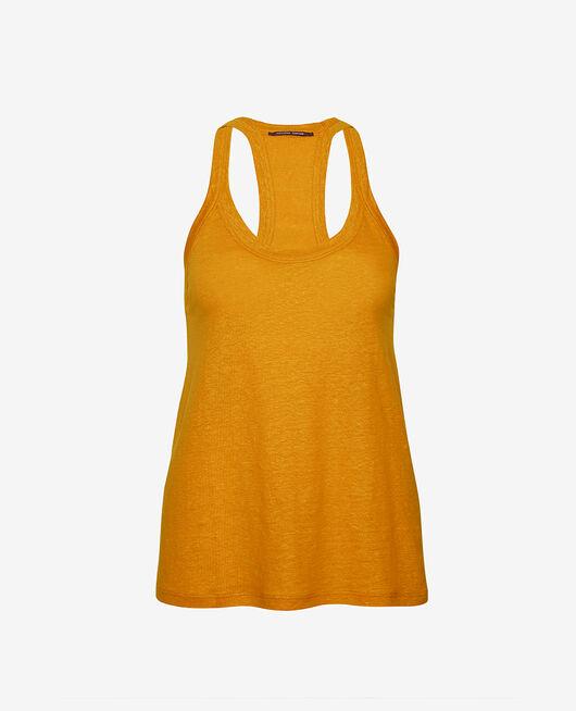 T-shirt sans manches Jaune cumin Casual lin