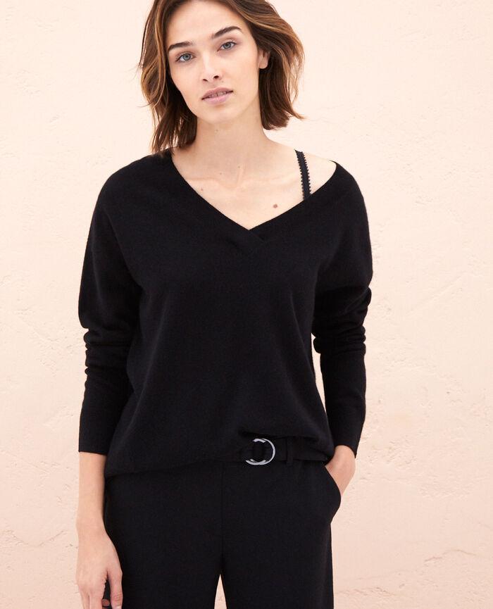 c776ac21b5 Pull cachemire femme col v couleur Noir - Icone | Princesse tam.tam