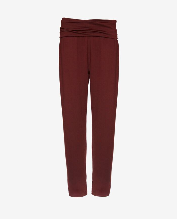Pantalon de sport ceinture drapée Rouge cassis Yoga