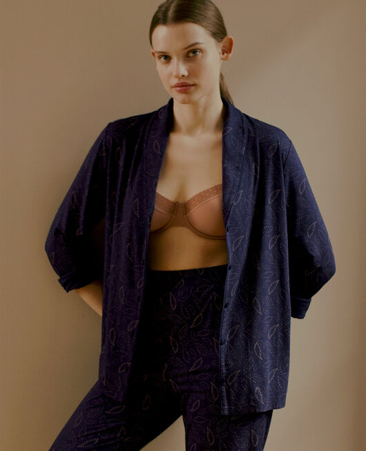Pyjama jacket Navy cashmere Paresse print