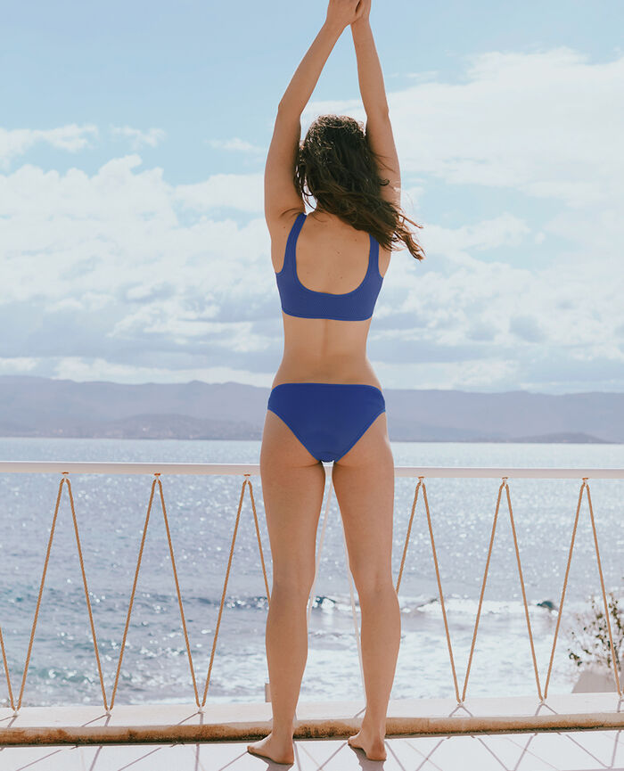 Wireless racer-back bikini top Faience blue Nageuse
