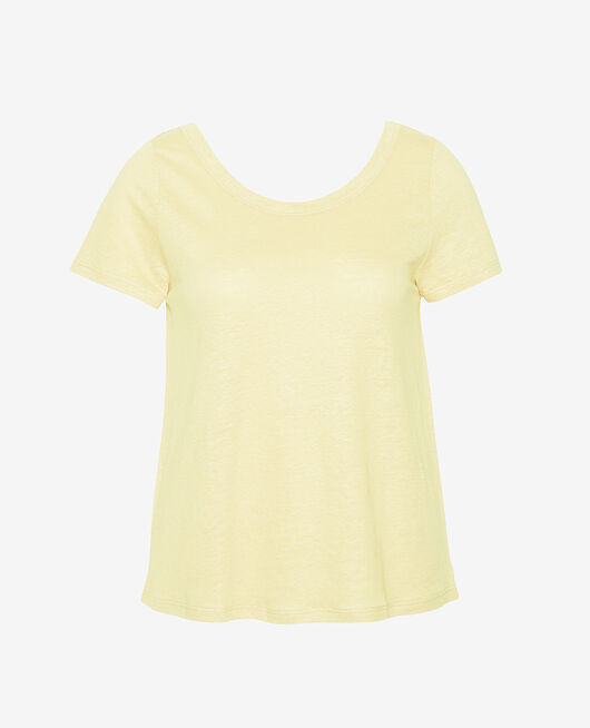 T-shirt manches courtes Jaune swan Casual lin