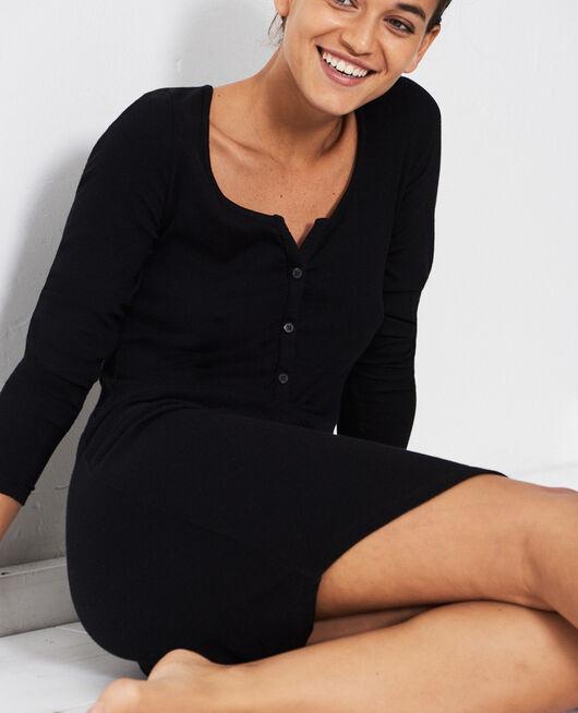 Long-sleeved nightdress Black Dimanche