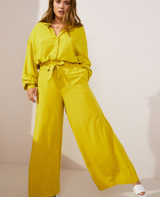 Trousers Aniseed green Lounge viscose