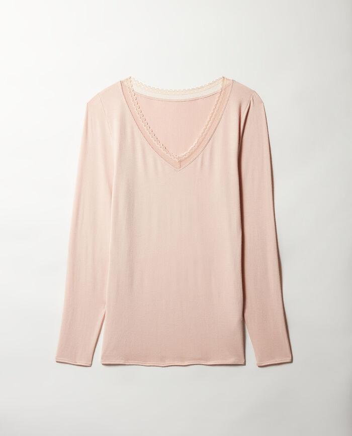 T-shirt manches longues Beige poudre Heattech® bord dentelle