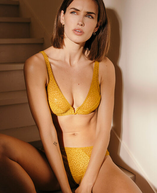 Underwired triangle bra Absinthe yellow Velvet