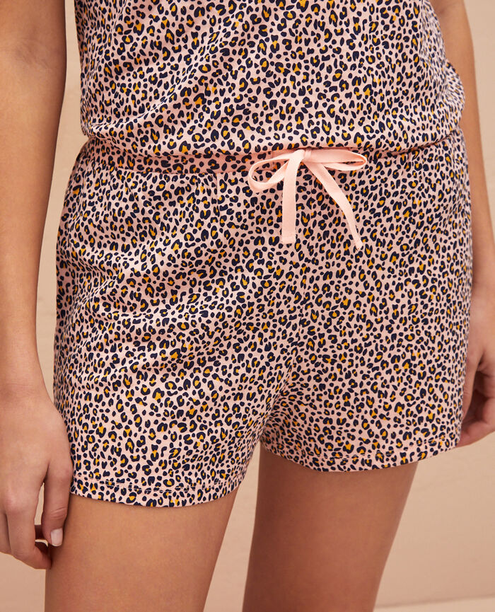 Pyjama shorts Leo rose Latte print