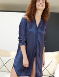 Long-sleeved nightdress Dots blue Aurore