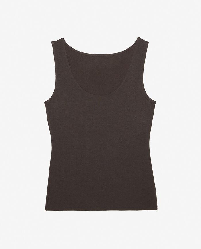 T-shirt sans manches Gris fumé Heattech® bord ultraplat