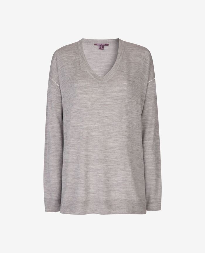 Pull col v Gris chiné Extra