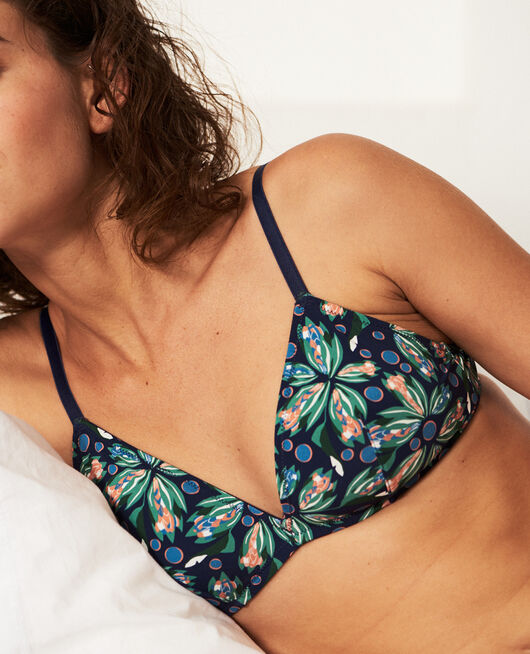 Soft cup bra Navy flower Take away