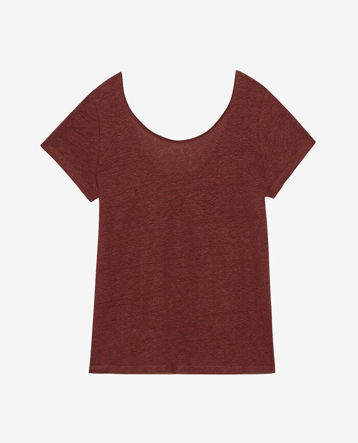 T-shirt manches courtes Brun écorce Casual lin