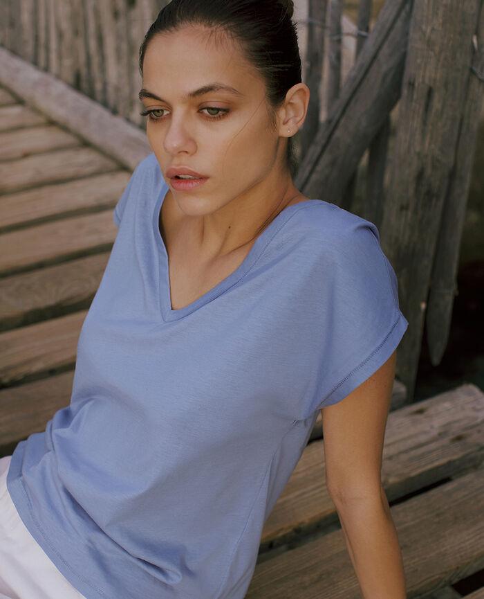 T-shirt court manches courtes col v Bleu hortensia Top collection
