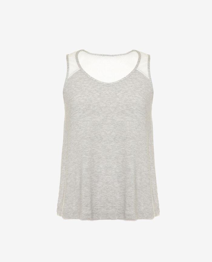 T-shirt sans manches Gris clair chiné Douceur