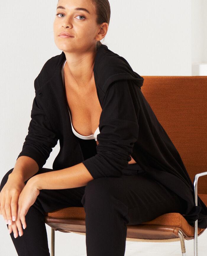 Long-sleeved cardigan Black Heattech® lounge