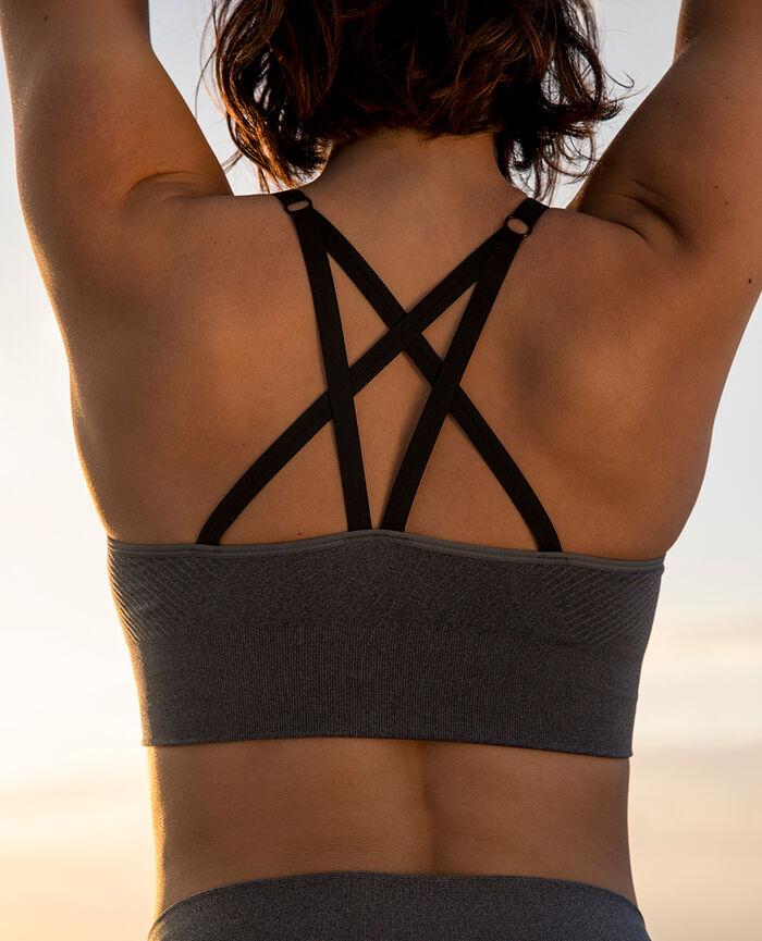Brassière maintien léger Gris chiné Yoga