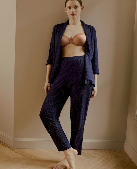 Pantalon carotte Cashmere bleu marine Paresse print