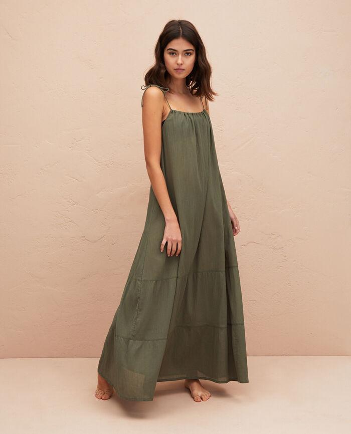 Robe longue évasée Vert casbah Mellah