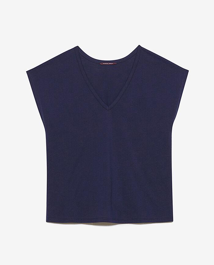 T-shirt court manches courtes col v Bleu marine Top collection