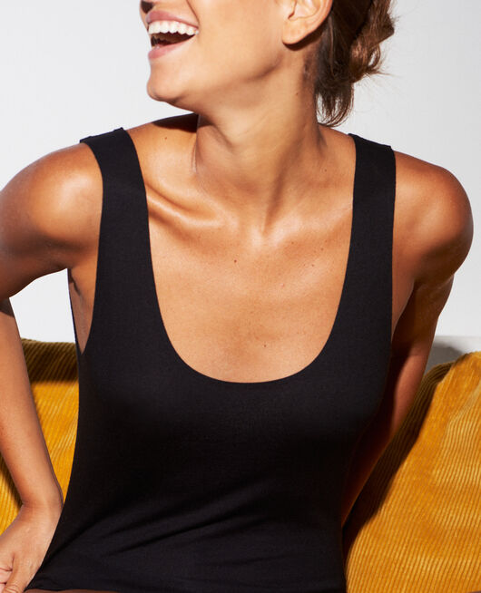 Vest top Black Heattech© innerwear