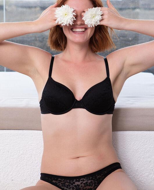 Half-cup bra spacer Black Fleurs