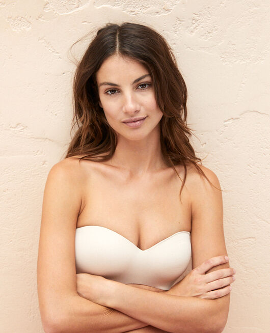 Softcup bandeau bra with cups Powder Fantome