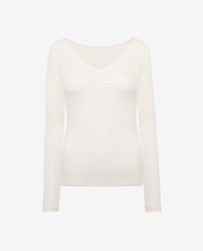 Top manches longues Blanc rosé Heattech© lovely