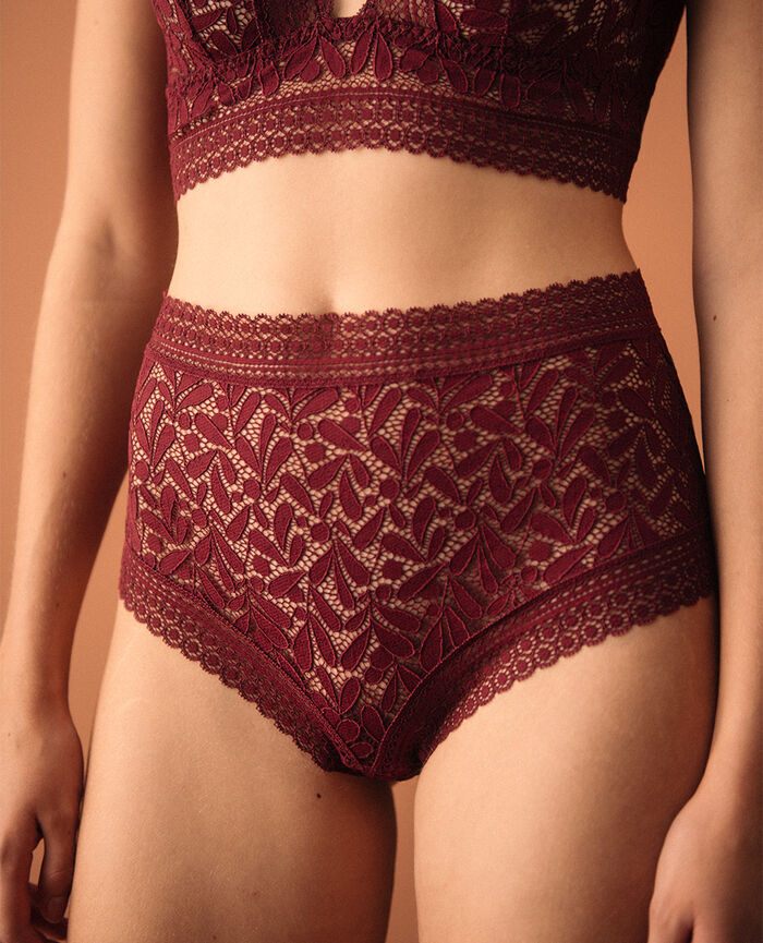 Culotte taille haute Rouge cassis Evidence