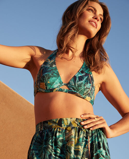 Underwired triangle bikini top Blue palm Palme